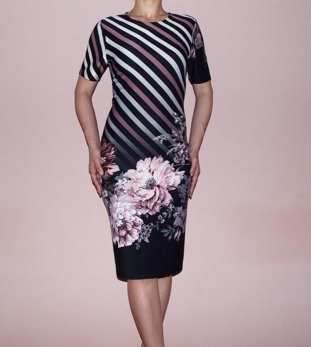 Rochie midi cu dungi si imprimeu floral - Carina 0