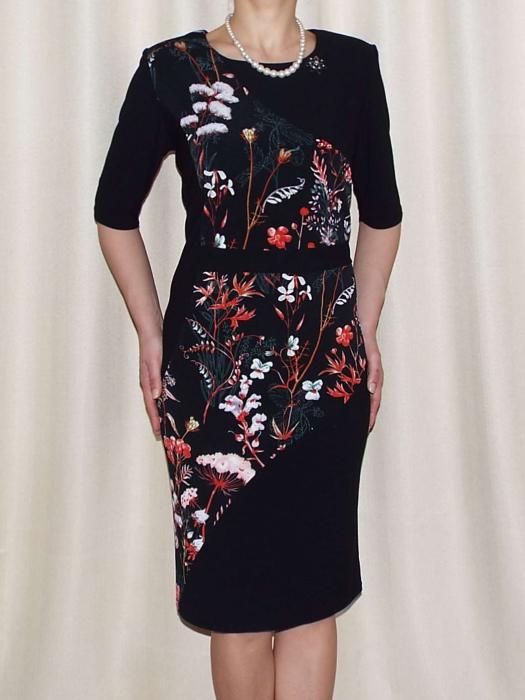 Rochie midi cu imprimeu floral si brosa - Amalia Negru 0