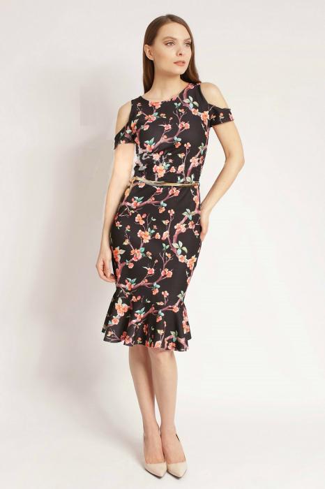 Rochie midi  cu imprimeu floral si decupaj la umeri - Zaira N 0
