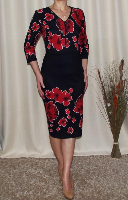 Rochie midi cu imprimeu floral si fermoar - Iuliana Negru 0