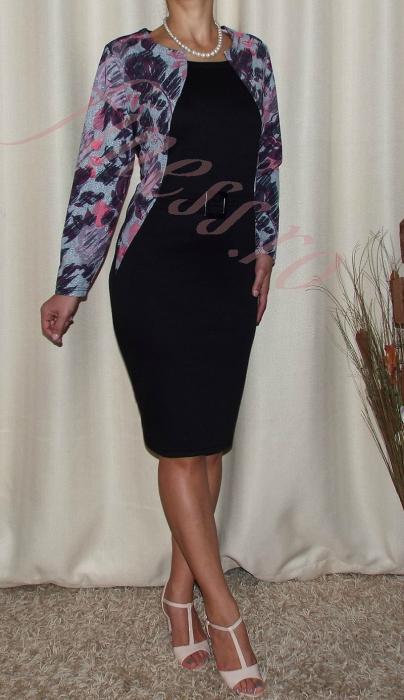 Rochie midi cu imprimeu floral si maneca lunga - Iustina Negru 1
