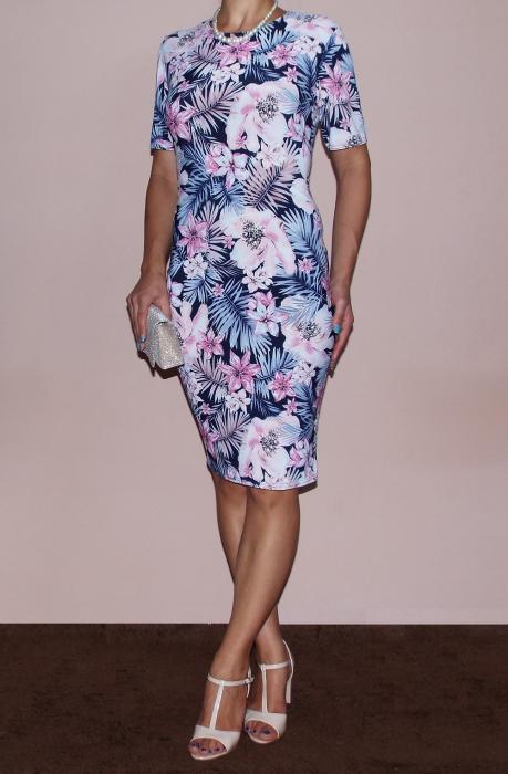Rochie midi cu imprimeu floral si maneca scurta - Briana 0