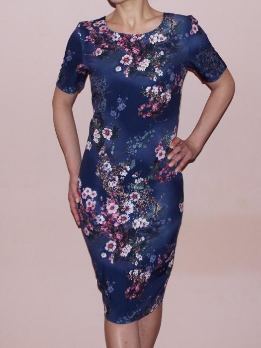 Rochie midi cu imprimeu floral si maneca scurta - Crina Albastru 0