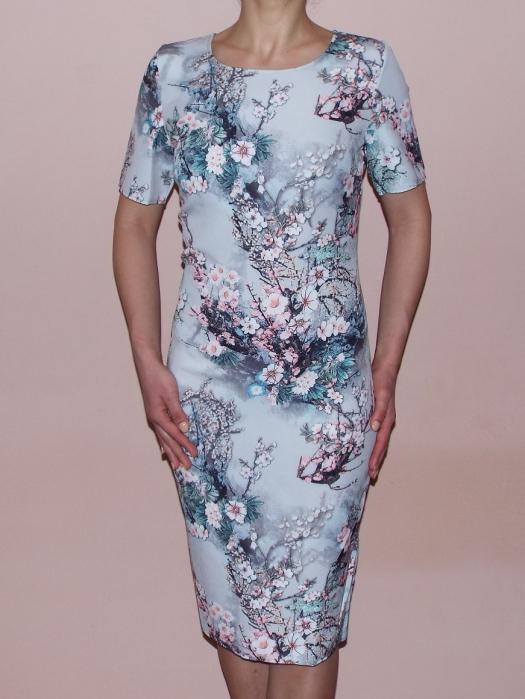 Rochie midi cu imprimeu floral si maneca scurta - Crina Gri 0