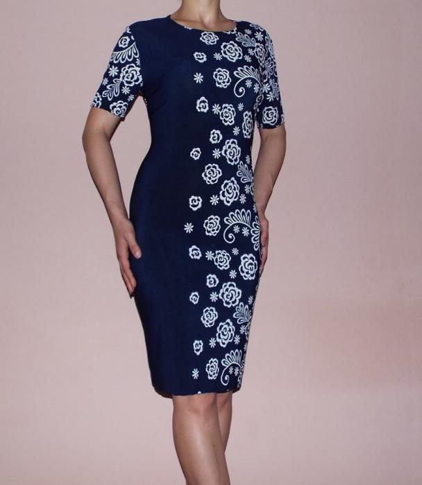 Rochie midi cu imprimeu floral si maneca scurta - Sandra 0