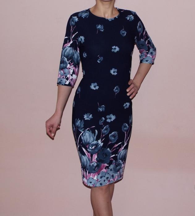 Rochie midi cu imprimeu floral si maneca trei sferturi - Catrinel 0