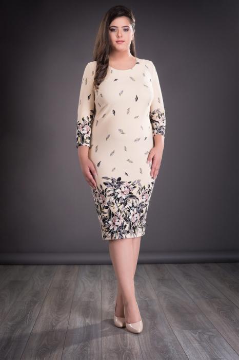 Rochie midi cu imprimeu floral si maneca trei sferturi - Sonia 0