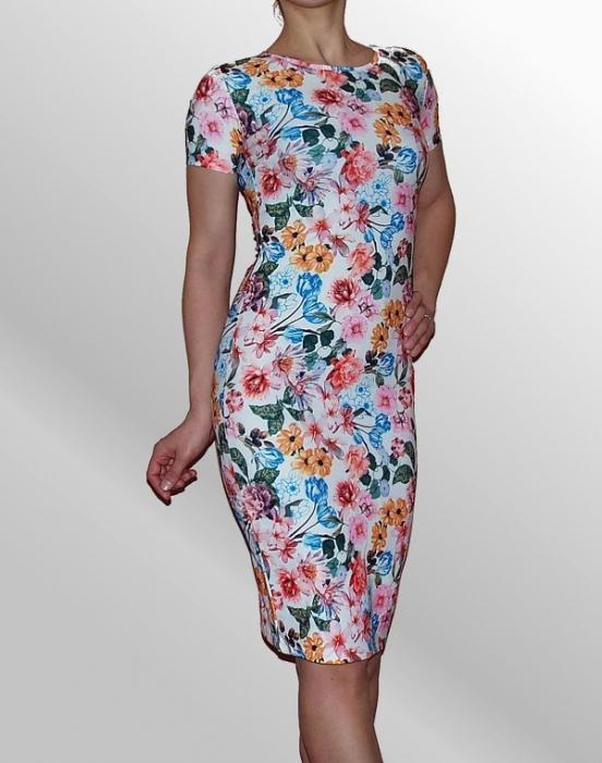 Rochie midi cu imprimeu si maneca scurta - R262 Floral 0