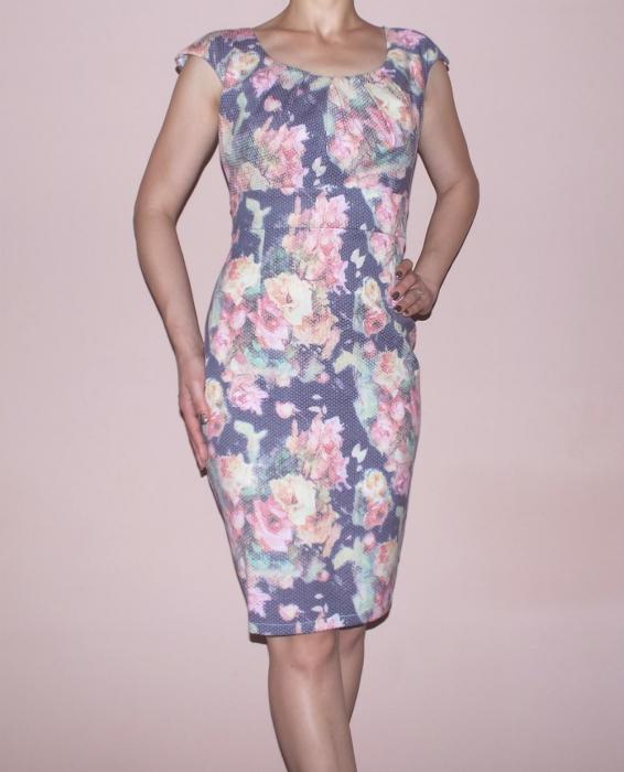 Rochie midi cu imprimeu si maneca scurta - Simina Floral 0