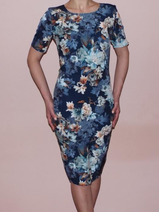Rochie midi cu maneca scurta si imprimeu floral - Crina Bleumarin 0