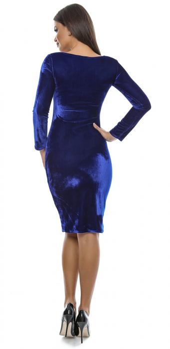 Rochie midi din catifea albastra - VelvetA 1