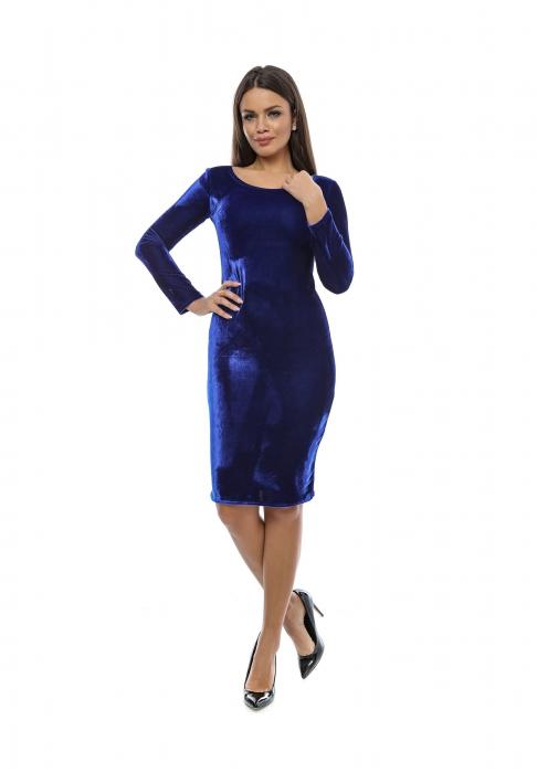 Rochie midi din catifea albastra - VelvetA 0