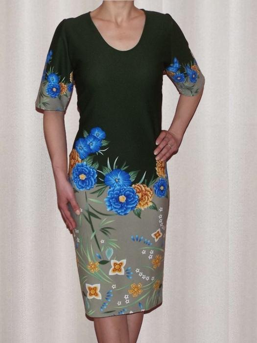 Rochie midi din crep cu imprimeu si maneca scurta - Aurora Kaki 0