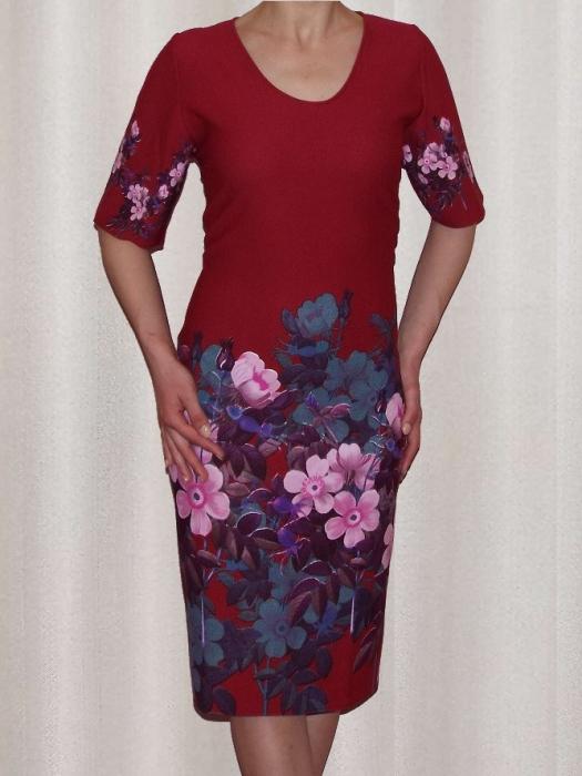 Rochie midi din crep cu imprimeu si maneca scurta - Aurora Rosu 0