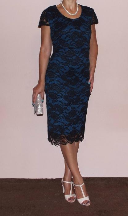 Rochie midi din dantela cu maneca scurta - Vega Albastru 1