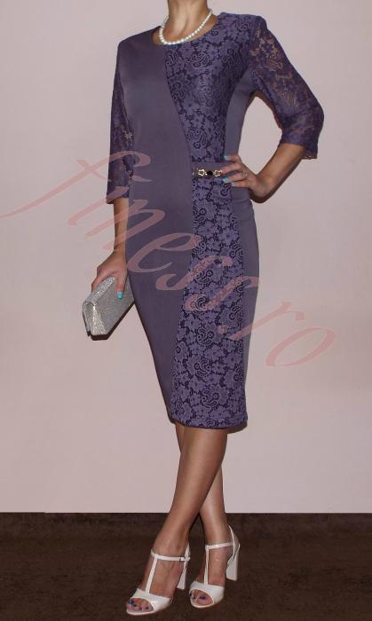 Rochie midi din dantela si stofa - Selena Lila 0