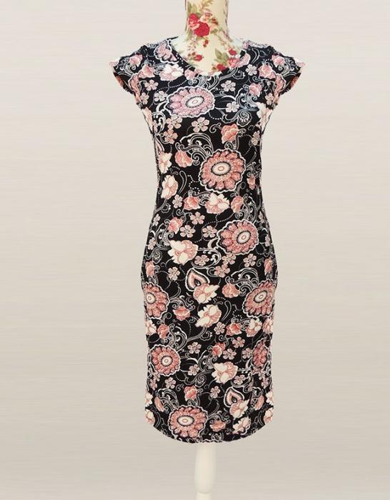 Rochie midi din jerse negru cu imprimeu floral - RF054 0