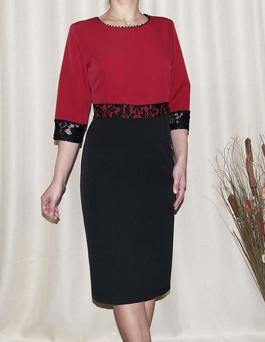 Rochie midi din stofa cu maneca trei sferturi - Edina Rosu 0