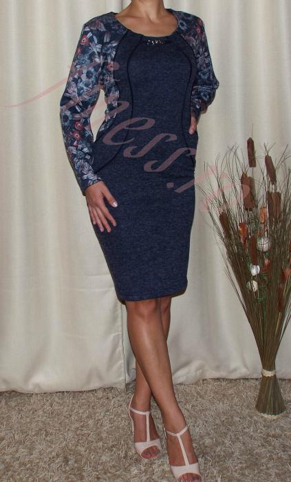Rochie midi din tricot cu accesoriu la gat - Mariana 1