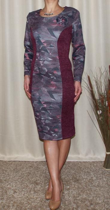 Rochie midi din tricot cu brosa detasabila - Eleonora Grena 1