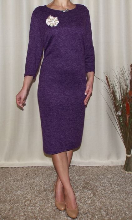 Rochie midi din tricot cu maneca trei sferturi - Romina Mov 0