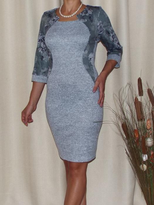 Rochie midi din tricot subtire cu imprimeu floral - Lorena Gri [0]