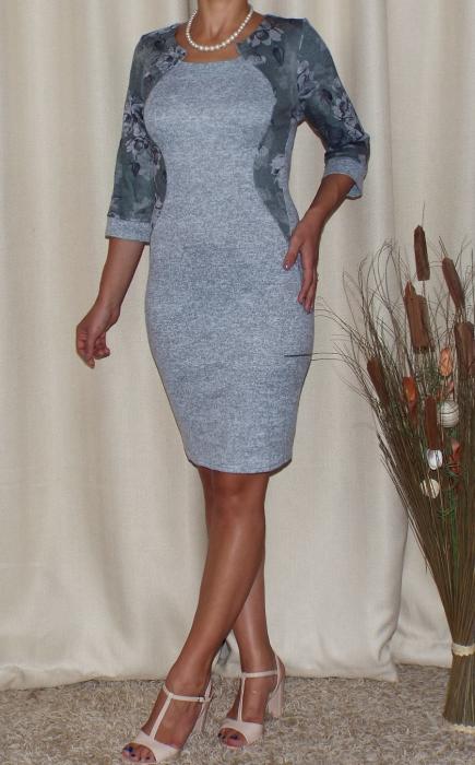 Rochie midi din tricot subtire cu imprimeu floral - Lorena Gri [1]