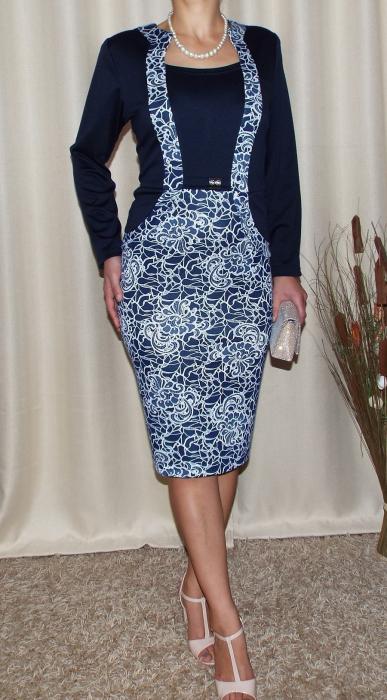 Rochie midi eleganta bleumarin cu imprimeu - Carmen 1