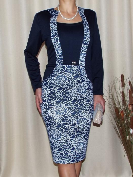 Rochie midi eleganta bleumarin cu imprimeu - Carmen 0