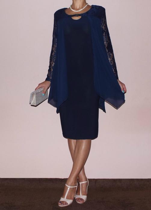 Rochie midi eleganta cu accesoriu la gat - Doris Bleumarin [0]