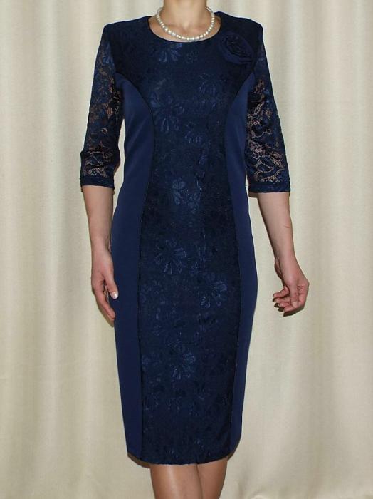 Rochie midi eleganta cu brosa detasabila - Antonia Bleumarin 0