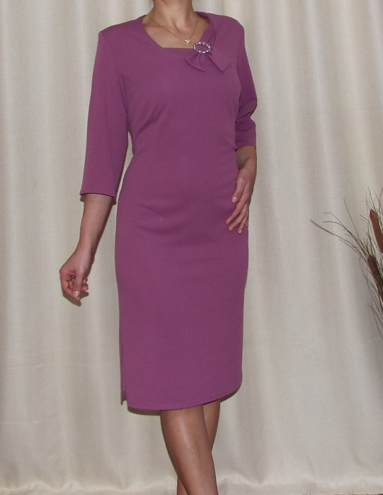 Rochie midi eleganta cu brosa si maneca trei sferturi - Carolina Mov 0