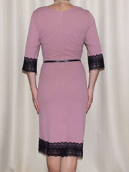 Rochie midi eleganta cu dantela neagra si curea - EVA 1