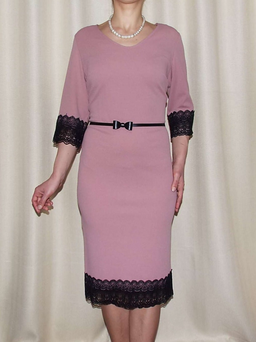 Rochie midi eleganta cu dantela neagra si curea - EVA 0