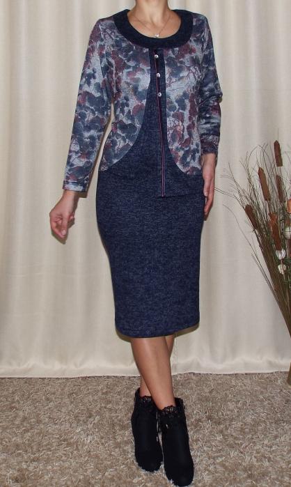 Rochie midi eleganta cu imprimeu floral - Adriana Bleumarin 1