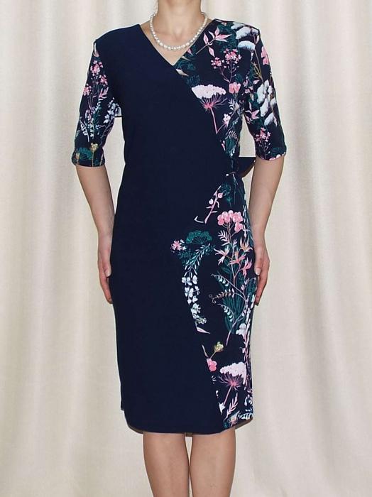 Rochie midi eleganta cu imprimeu floral - Otilia Bleumarin 0