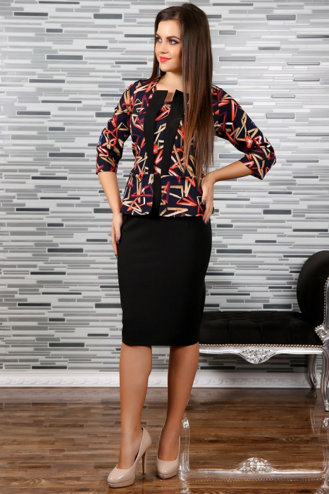 Rochie midi eleganta cu imprimeu multicolor - Adina [0]