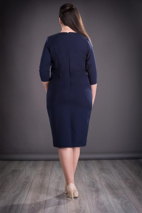 Rochie midi eleganta cu imprimeu si accesorii - Felicia Albastru 1