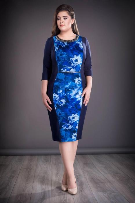 Rochie midi eleganta cu imprimeu si accesorii - Felicia Albastru 0