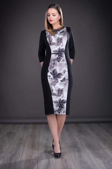 Rochie midi eleganta cu imprimeu si maneca trei sferturi - Felicia Gri 0