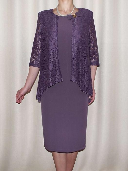 Rochie midi eleganta cu maneca trei sferturi - Anastasia Mov [0]