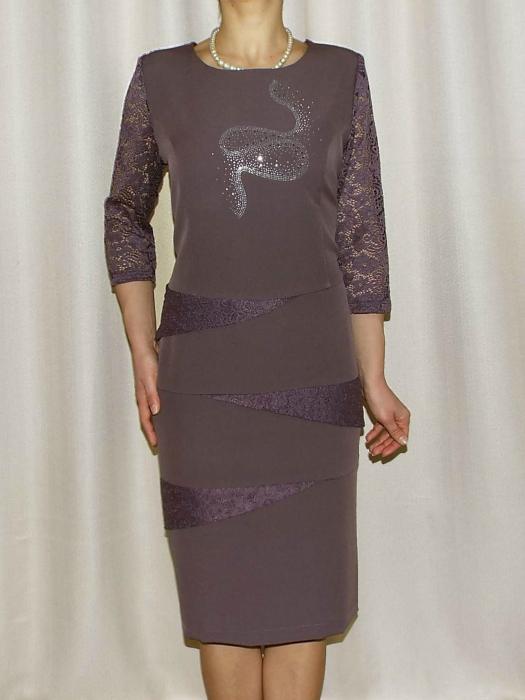 Rochie midi eleganta cu maneca trei sferturi - Ozana Mov 0