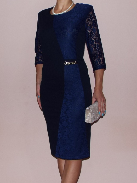 Rochie midi eleganta cu maneca trei sferturi - Selena Bleumarin [0]
