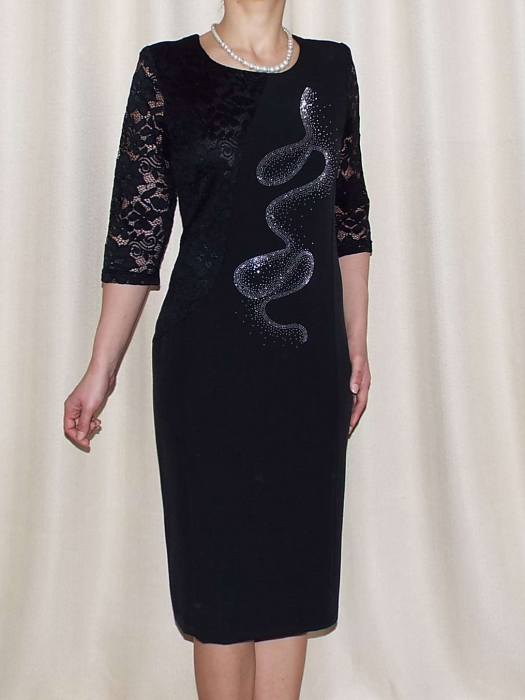 Rochie midi eleganta cu maneca trei sferturi - Veronica Negru 0