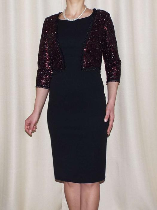 Rochie midi eleganta cu paiete si maneca trei sferturi - Viviana 0