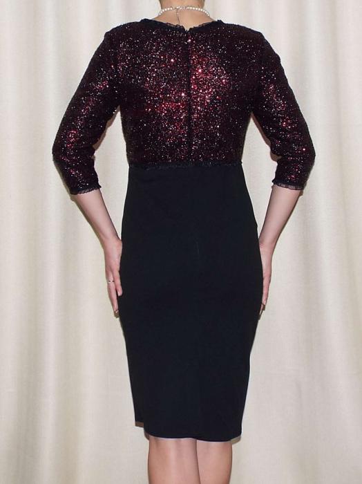 Rochie midi eleganta cu paiete si maneca trei sferturi - Viviana 1