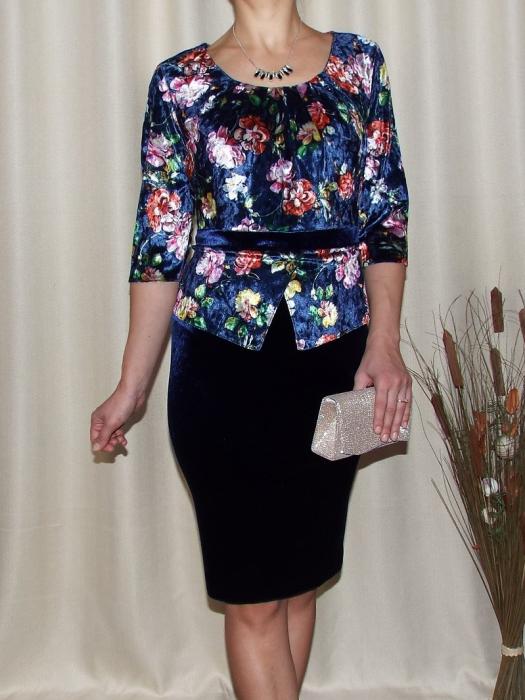 Rochie midi eleganta cu peplum si imprimeu - Hara Bleumarin 0