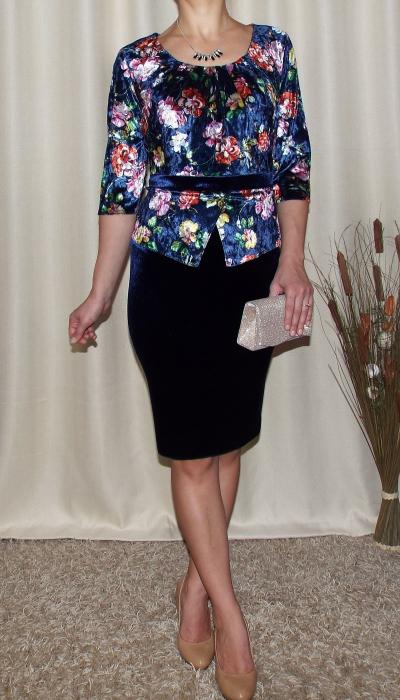 Rochie midi eleganta cu peplum si imprimeu - Hara Bleumarin 1