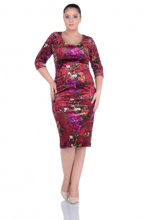 Rochie midi eleganta din catifea cu imprimeu - Helena Rosu 0