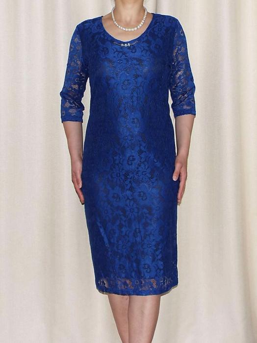 Rochie midi eleganta din dantela cu accesoriu - Marisa Albastru [0]
